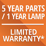 5 yr Parts-1 yr Lamp warranty