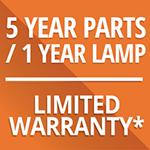 5 yr Parts-1 yr Lamp warranty